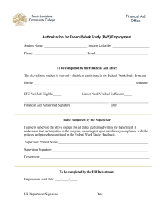 Authorization for Federal Work Study (FWS) Employment Financial