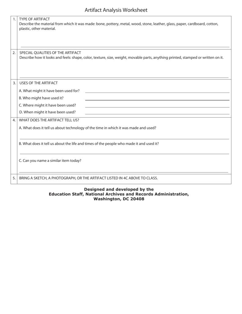 Artifact Analysis Worksheet