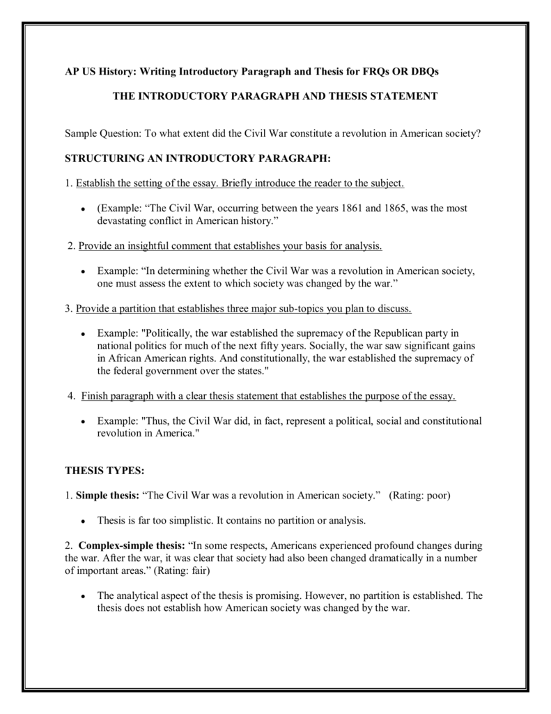 ap us history writing introductory paragraph and thesis for frqs