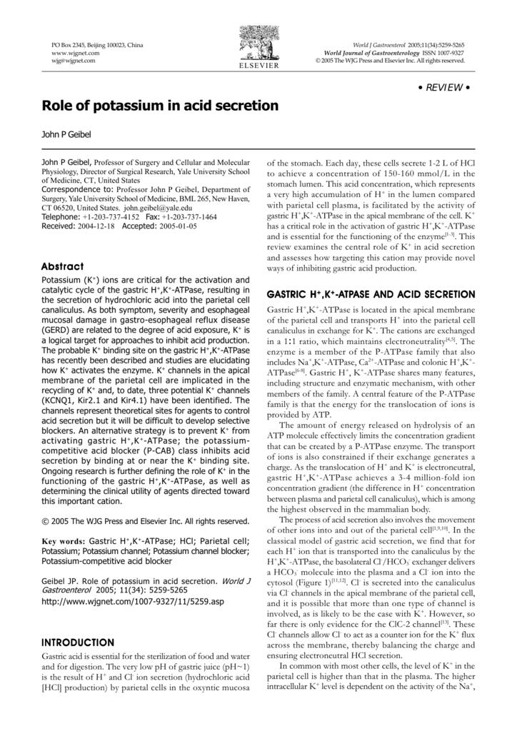 Role of potassium in acid secretion
