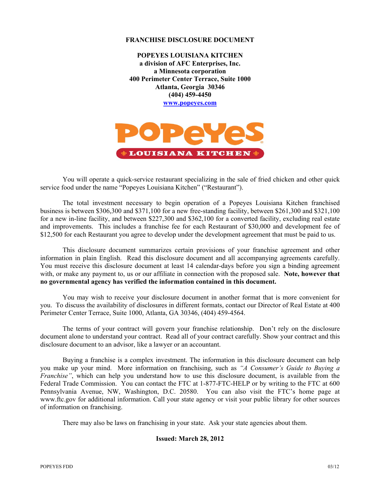 Franchise Disclosure Document for Popeyes