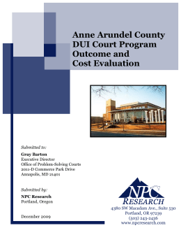 Anne Arundel County DUI Court Program Outcome