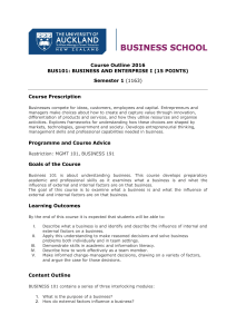 Course Outline 2016 BUS101: BUSINESS AND ENTERPRISE I (15