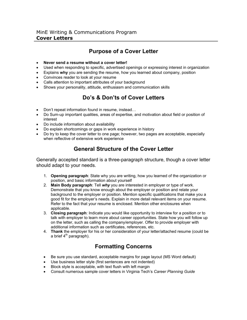 Purpose of a Cover Letter Do\'s & Don\'ts of Cover Letters General