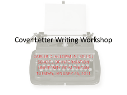 Cover Letter Writing Workshop - University of Michigan School of