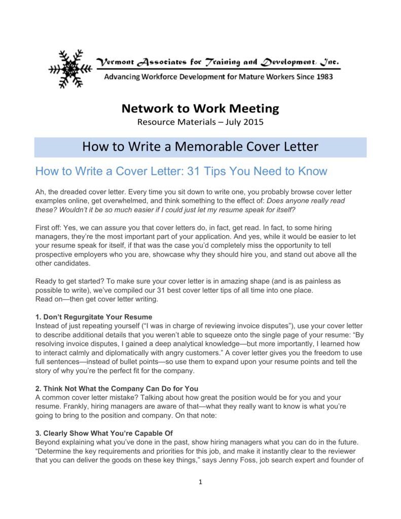 Network To Work Meeting Resource Materials July 2015 How Write A Memorable Cover Letter 31 Tips You Need Know Ah
