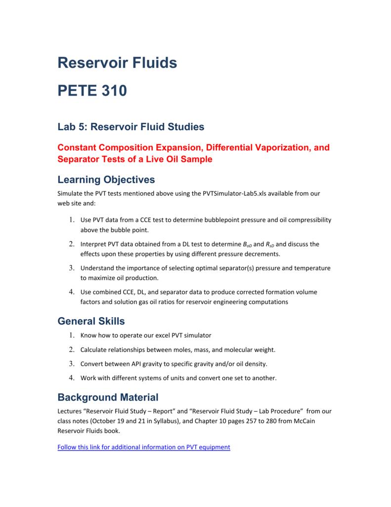 Reservoir Fluid Studies (DL, CCE, Separator Tests)