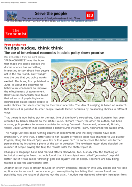Free exchange: Nudge nudge, think think | The Economist