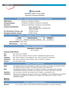 MATERIAL SAFETY DATA SHEET Potassium hydrogen phthalate