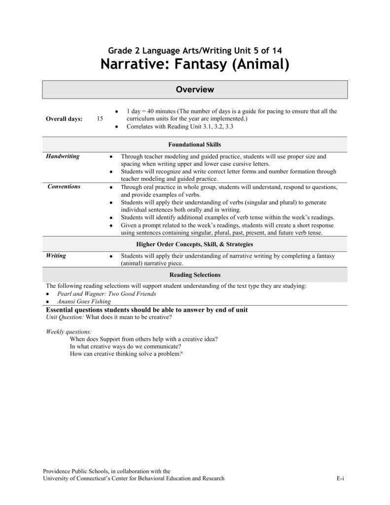 Narrative: Fantasy (Animal) - Providence School Department