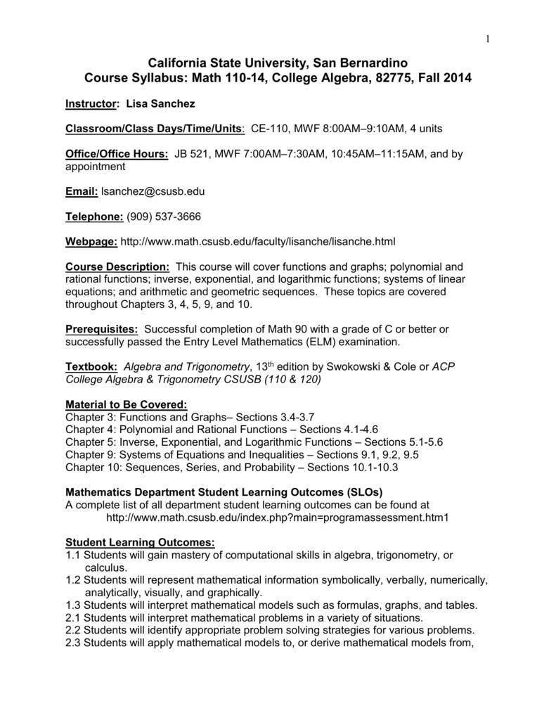 Math 110-14 Syllabus - CSUSB Math Department
