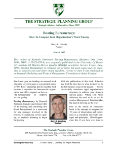 Busting Bureaucracy - The Strategic Planning Group