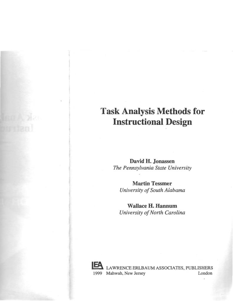 Task Analysis Methods For Instructional Design