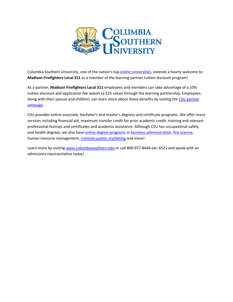 Columbia Southern University One Of The Nations Top Online