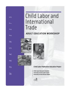 Child Labor and International Trade: Worksheets