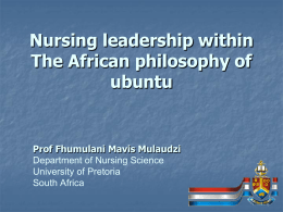 Nursing leadership within The African philosophy of ubuntu