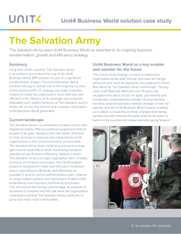 The Salvation Army – The Salvation Army sees Unit4 Business