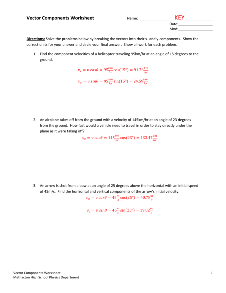 Vector Components Worksheet