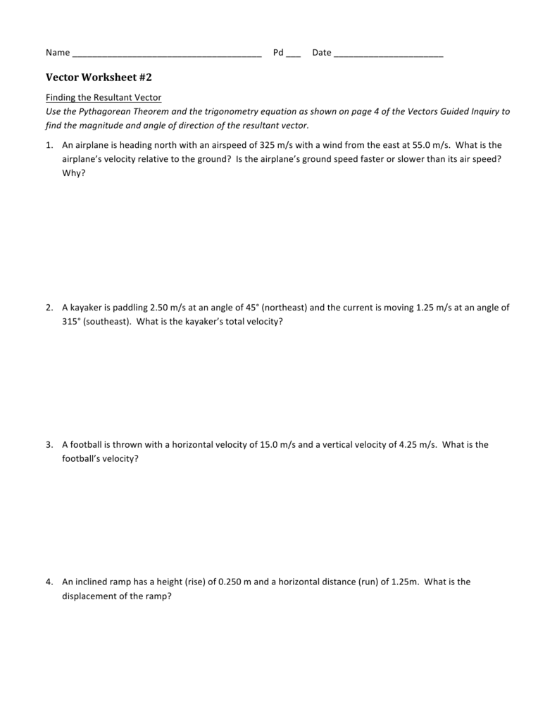 Uncategorized Vector Components Worksheet vector worksheet 2