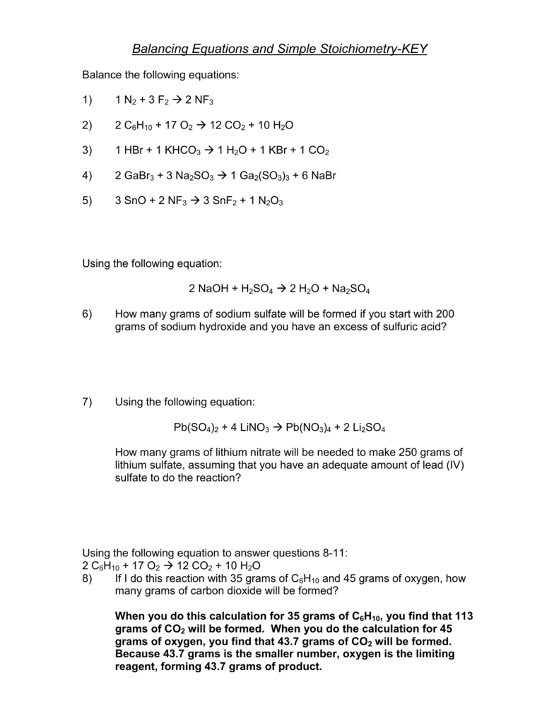 Worksheets Stoichiometry Practice Worksheet key solutions for the stoichiometry practice worksheet