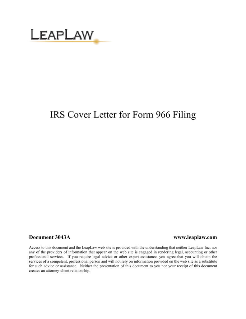 Irs cover letter for 966 falaconquin