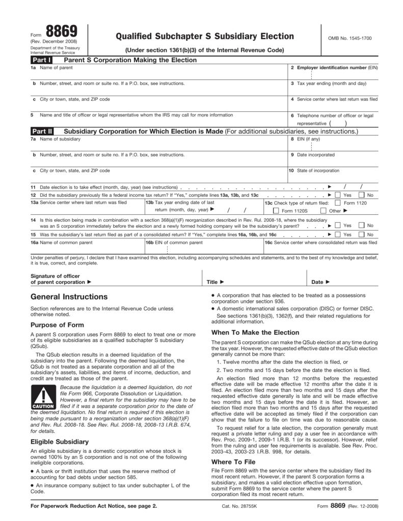 Form 8869 - Bradford Tax Institute