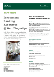 Investment Banking Resources @ Your Fingertips