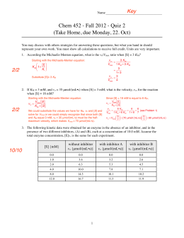 Chem 452 - Fall 2012 - Quiz 2 (Take Home, due Monday, 22. Oct)