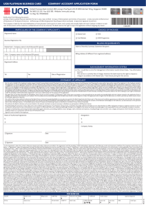 company account application form uob platinum business card