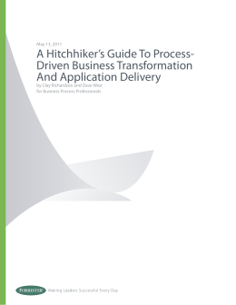 A Hitchhiker's Guide To Process- Driven Business Transformation