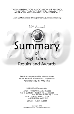 2008 High School Summary - American Mathematics Competitions
