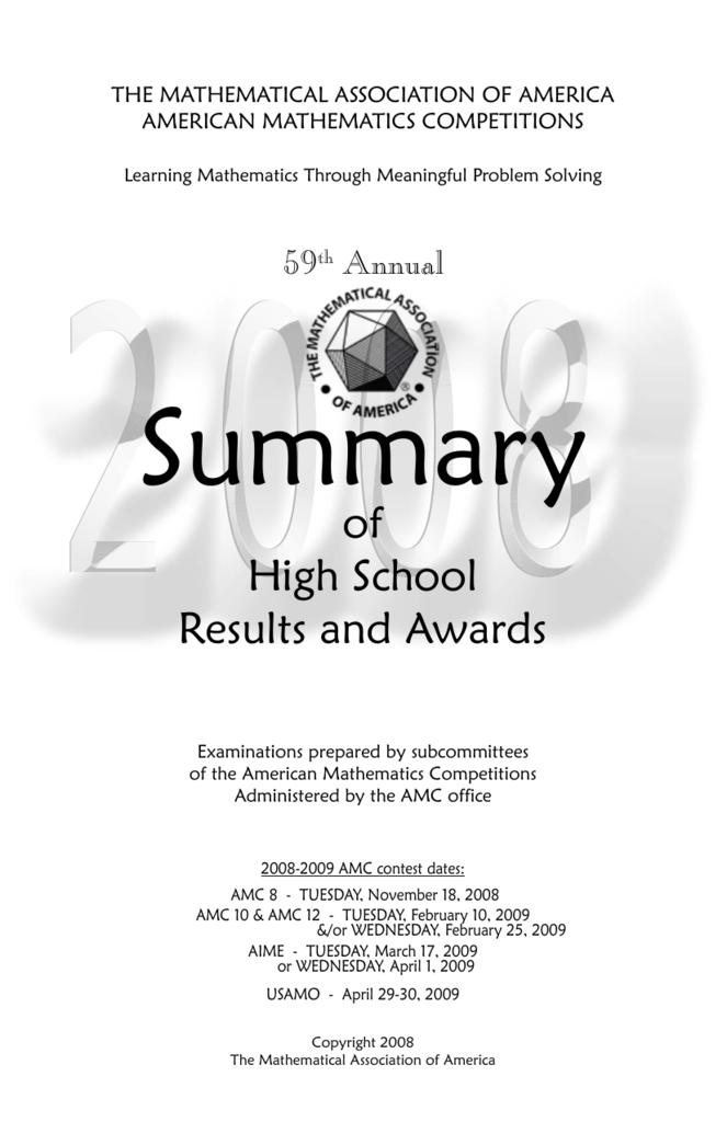 2008 High School Summary - American Mathematics Competitions