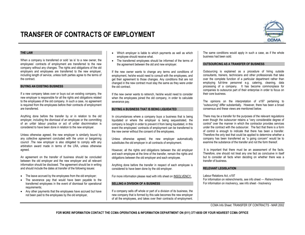 Transfer Of Contracts Of Employment