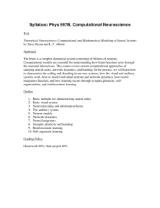 Syllabus: Phys 597B, Computational Neuroscience