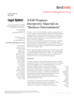 NASD Proposes Interpretive Material on Business