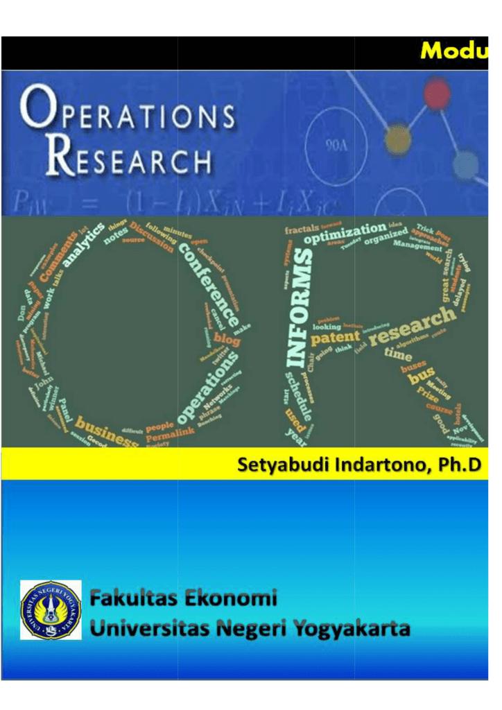 Operation Research Setyabudi Indartono
