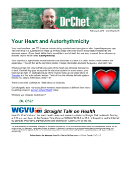 Your Heart and Autorhythmicity