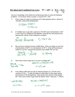 Worksheets Ideal Gas Law Worksheet ideal gas law worksheet pv nrt the and combined laws or p1v1