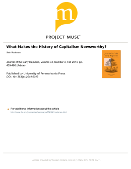 What Makes the History of Capitalism Newsworthy?