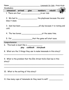 Lemonade study guide 9-11 - Primary Grades Class Page