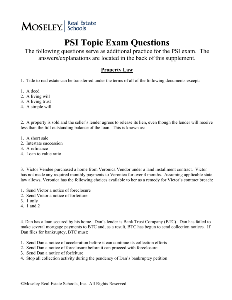 PSI Topic Exam Questions