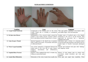 HAND and WRIST CONDITIONS
