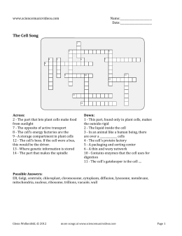 Cell Song Easy Crossword Puzzle