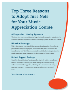 Top Three Reasons to Adopt Take Note for Your Music Appreciation