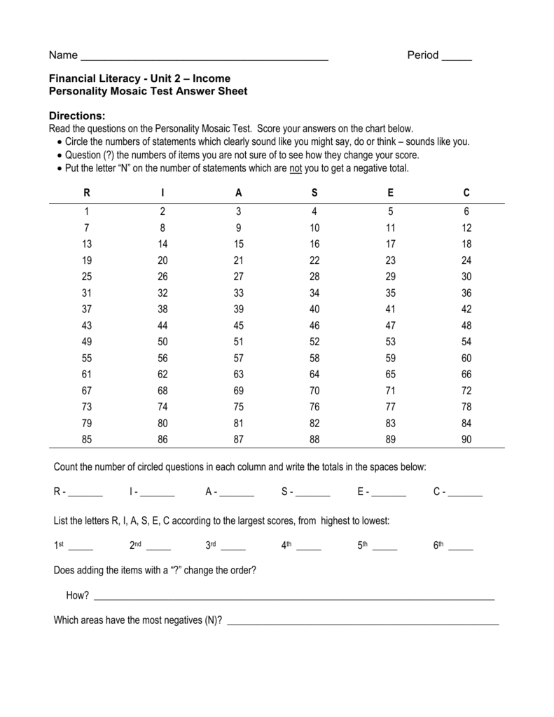 Financial Literacy Unit 2 Income Personality Mosaic Test Answ