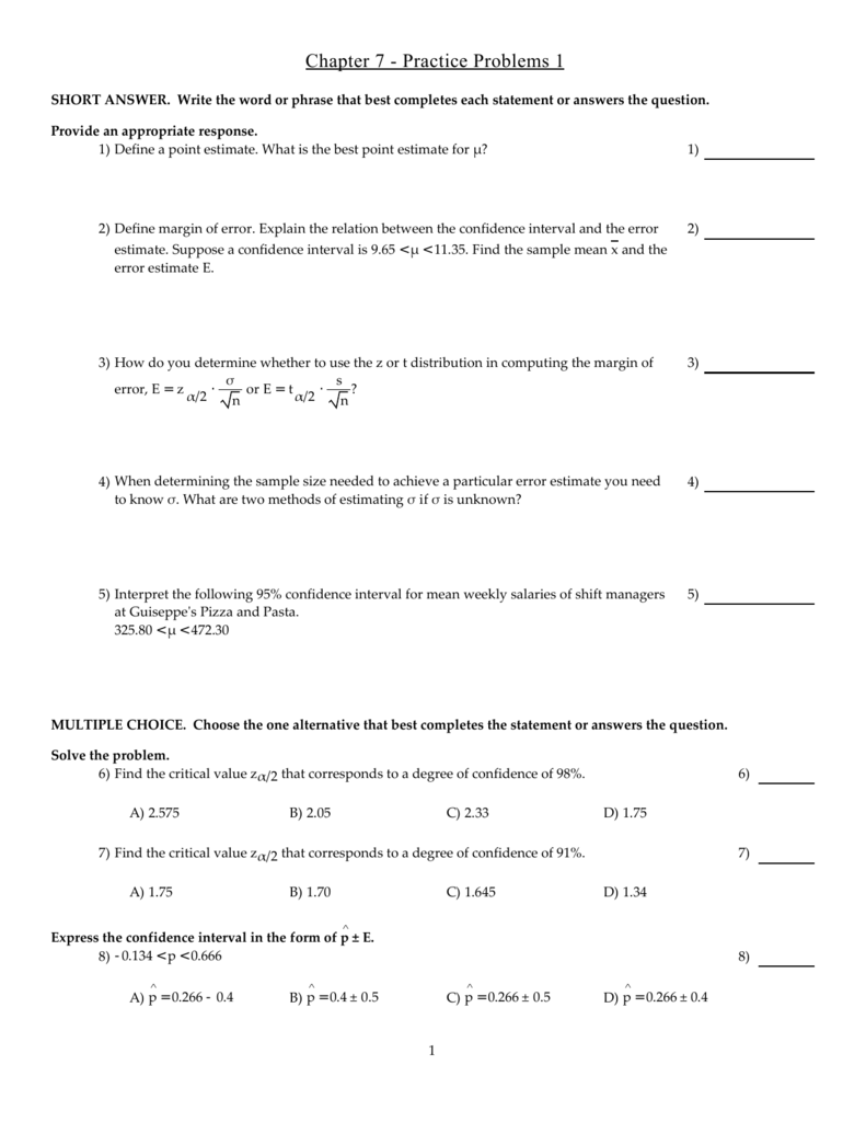 Chapter 7 - Practice Problems 1