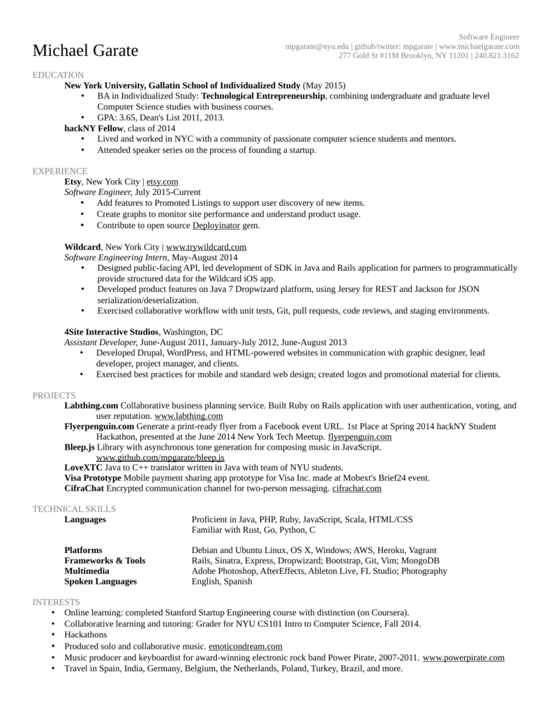 Resume - Michael Garate