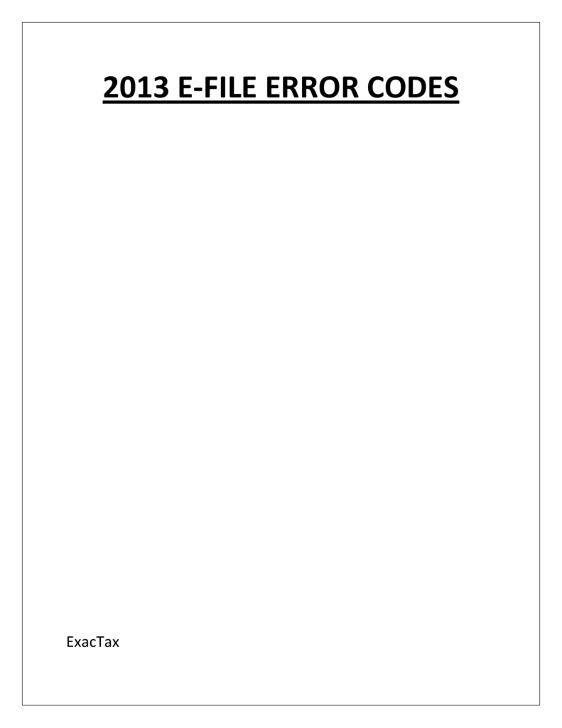 2013 e-file error codes
