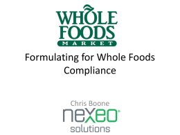 Formulating for Whole Foods Compliance