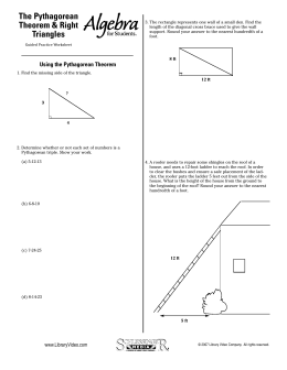 The Pythagorean Theorem & Right Triangles
